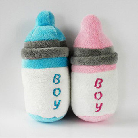 Stylish and Cute  Dog and Puppy Plush Squeaky Baby's Bottle Chew Toy
