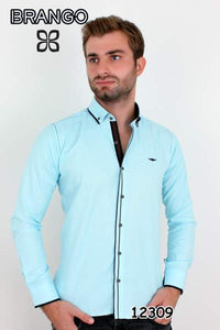 Turquoise dual accented designer button down dress shirts. - Ari's Fashion Imperium Ja - 1