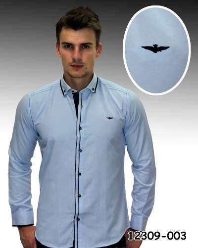 Light Blue accented designer button down dress shirts. - Ari's Fashion Imperium Ja - 1