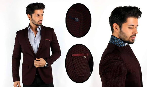 Brango Designer Slimfit Red Checkered Blazers - Ari's Fashion Imperium Ja