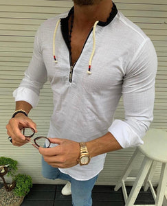 Men's Slim-fit, white pop over draw string cotton.