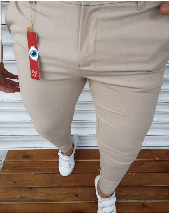 Men's Hello7 textured cream Slimfit Sport Casual Pants
