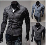 Men's slim fit grid patterned Casual shirt  (Int'l) - Ari's Fashion Imperium Ja - 3