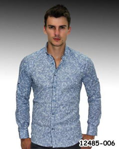 David Gingola Blue Abstract print party shirt - Aris-fashion-imperium-ja - 1