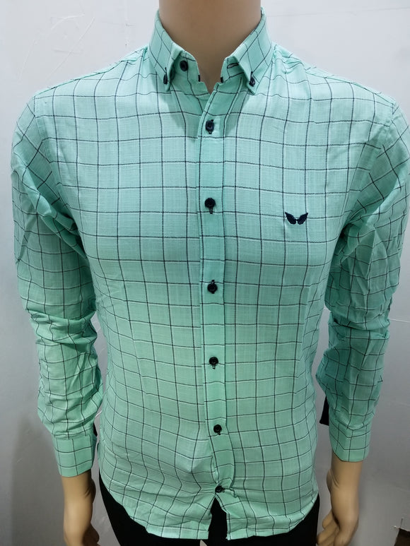 Men's aqua plaid abstract printed shirt