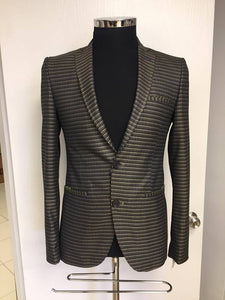 Brango Slimfit Micro Brown & gold Luxury Plaid Sport blazers
