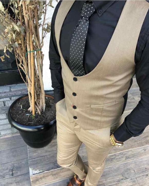 Khaki brown Men's slimfit Waist Coat Suit