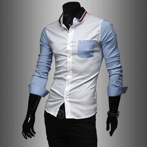 Light Blue contrast slimfit shirt with navy blue and red striped collar