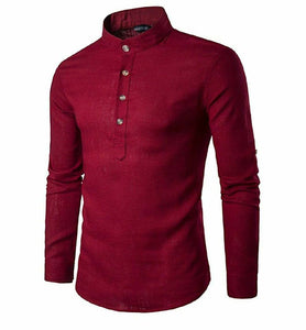 Men's henley shirts with roll up sleeves burgundy