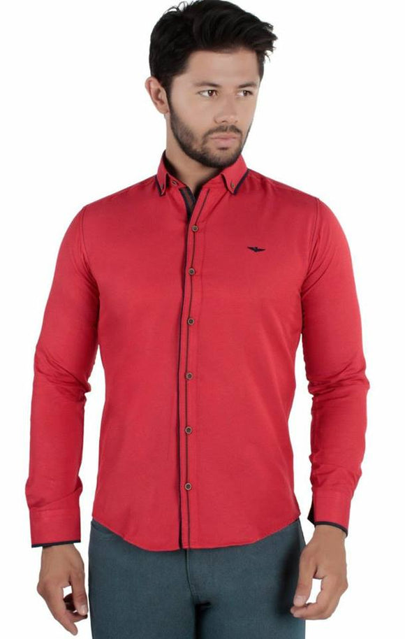 David Ginola Dual accented casual shirts - red