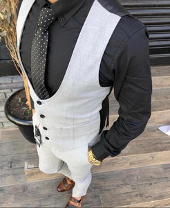 Jacquard Men's white  slim-fit Waist Coat Suit