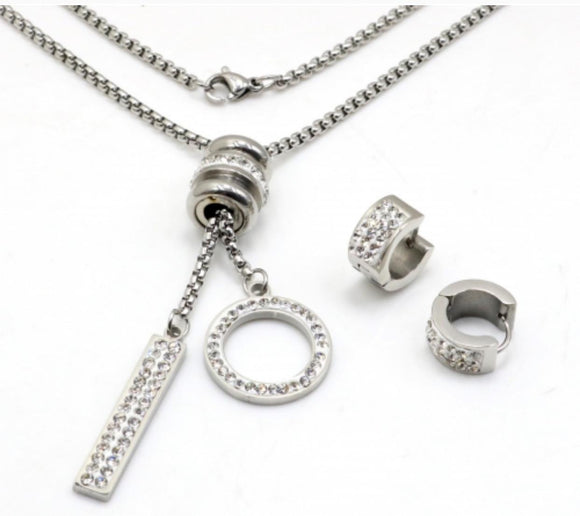 Stainless steel jewelry set necklace and earrings