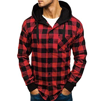 Red & black Plaid hooded flannel shirts