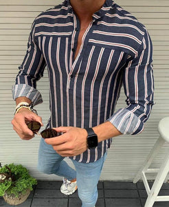Men's Slim-fit Navy blue & white with red Stripped pop-over Shirt