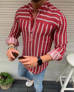 Men's Slim-fit Burgundy & white Stripped pop-over Shirt