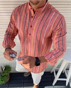 Men's Slim-fit Peach multi coloured stripped pop-over Shirt