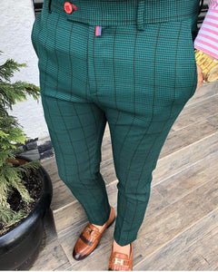 Men's white, Jade green & Black plaid pants