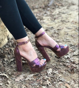 Mata Purple Ladies Strapped up Heels