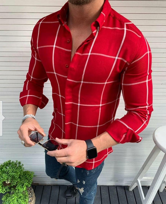 Men's red white grid pattern button down slimfit shirt