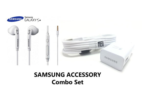 SAMSUNG GALAXY HEADSET & ADAPTIVE FAST CHARGER SET FOR S7/S6/NOTE 6/NOTE 5. TRAVEL PACK - Ari's Fashion Imperium Ja - 1
