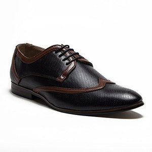 Men's Leather Lined Perforated Two-Tone Lace Up Oxfords Shoes