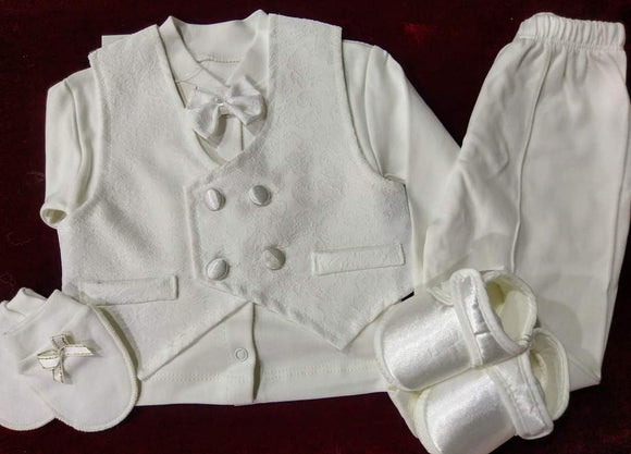 WHITE TEXTURED CHRISTENING SUITS,