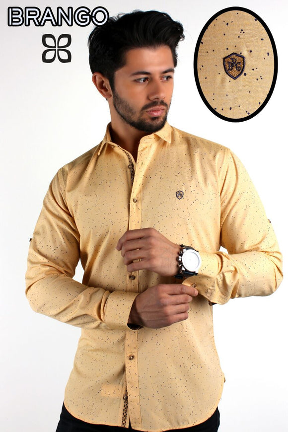Honey Gold Designer Button Down Galaxy woven Shirts - Ari's Fashion Imperium Ja - 1