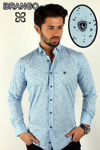Light blue men's button down galaxy stars designer slimfit shirt - Ari's Fashion Imperium Ja - 1