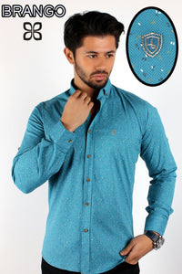 Turquoise men's button down galaxy stars designer slim fit shirt - Ari's Fashion Imperium Ja - 1