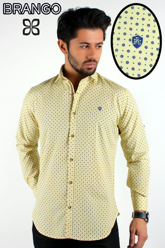Yellow Men's sunflower button down casual shirt - Ari's Fashion Imperium Ja - 1