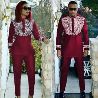 Burgundy couples Dashiki Slim-fit Wear
