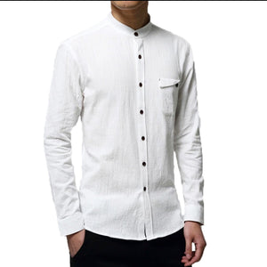Men's slimfit mandarin collar linen shirts.