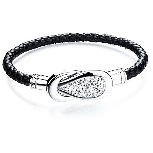 Unsex Zirconia magnetic leather  bracelets