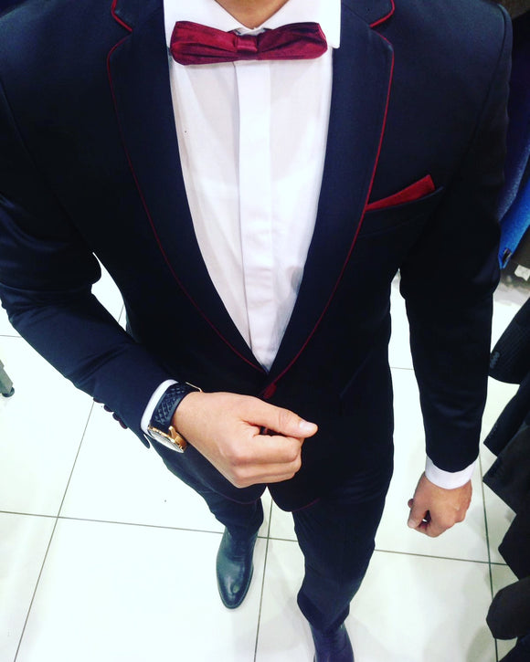 Men's Accented, black & burgundy suit