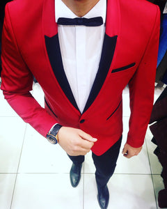 Men's contrast Red & BLACK tuxedo suit