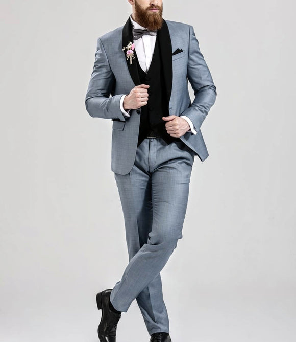 Men's slimfit 3 piece Grey Shawl suit