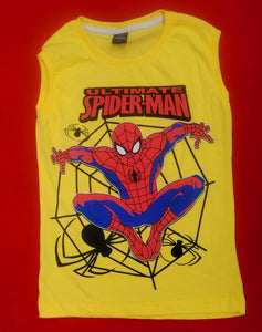 marvel Spider Man Yellow  Sleeveless shirts