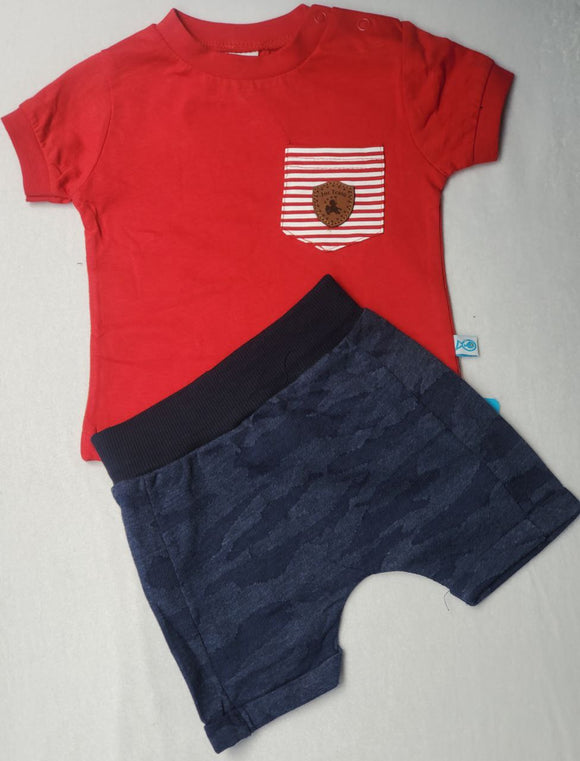 Nazar Bebe  2 piece  red top with Red  and white stripe pocket with brown emblems shorts set