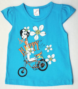 Minnos girl fashion top light blue  , with girl on bicycle