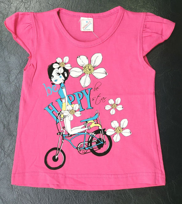Minnos girl fashion top pink, with girl on bicycle