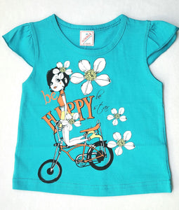 Minnos girl fashion top aqua , with girl on bicycle