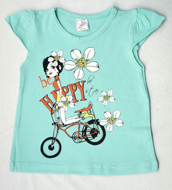 Minnos girl fashion top light aqua , with girl on bicycle
