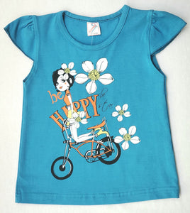 Minnos girl fashion top Dark blue, with girl on bicycle