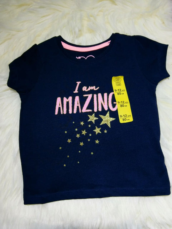 Next Uk, Girls Navy blue I'm Amazing Tee