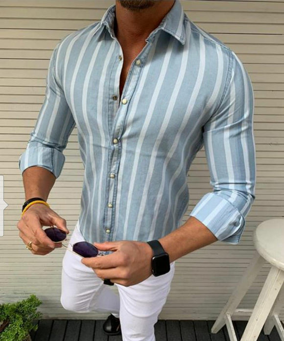 Men's Light blue stripped denim push button shirt model -1A