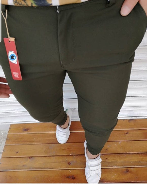 Men's Hello7 dark green Slimfit Sport Casual Pants