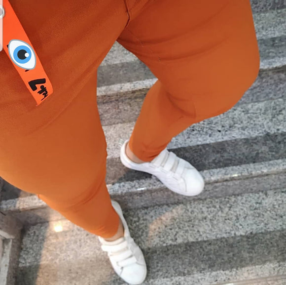 Men's orange slim-fit casual sport pants