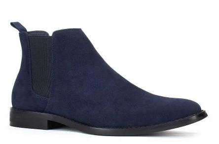 JXSN NAVY BLUE SUEDE CHELSEA ANKLE BOOT.
