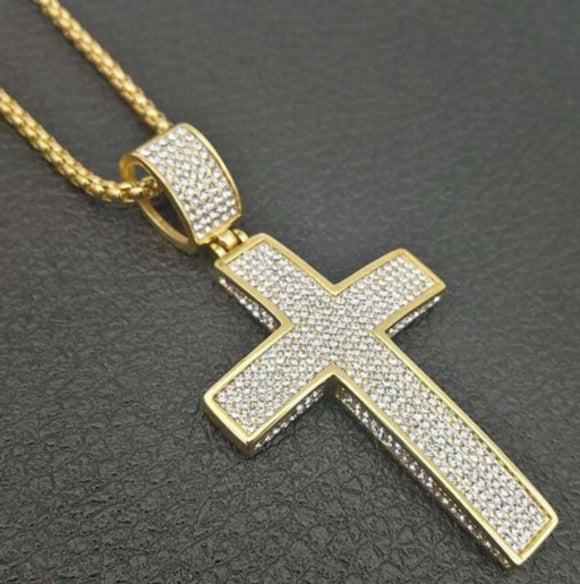 Stainless steel hip hop cross pendant necklace