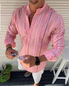 Men's Slim-fit  Pink multi coloured stripped pop-over Shirt